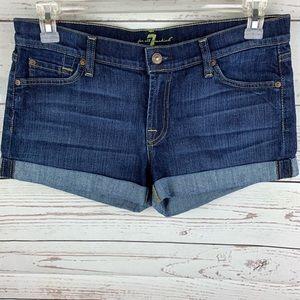 7 For All Mankind Dark Wash Cuffed Jean Shorts